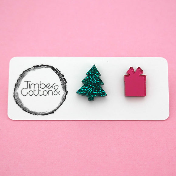 Mismatch Christmas Tree & Present in Emerald Green Glitter & Pink Mirror- Timber & Cotton