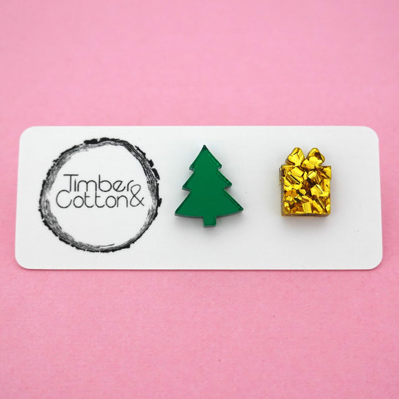 Mismatch Christmas Tree & Present in Green Mirror & Gold Flake Glitter- Timber & Cotton