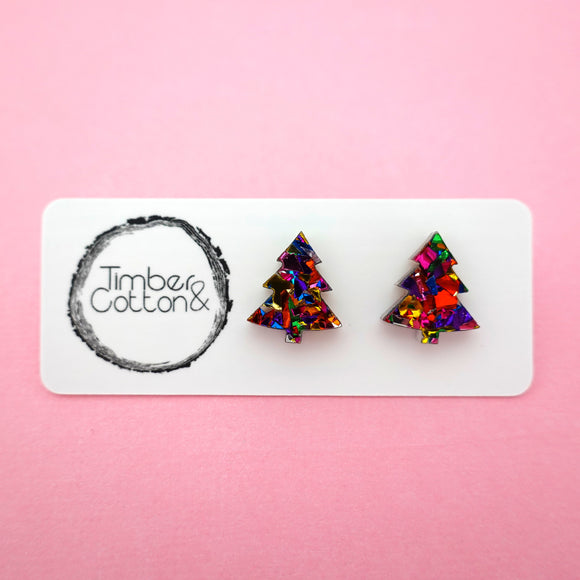 Christmas Tree Stud in Rainbow Flake Glitter- Timber & Cotton