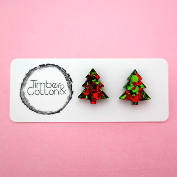 Christmas Tree Stud in Christmas Flake Glitter- Timber & Cotton