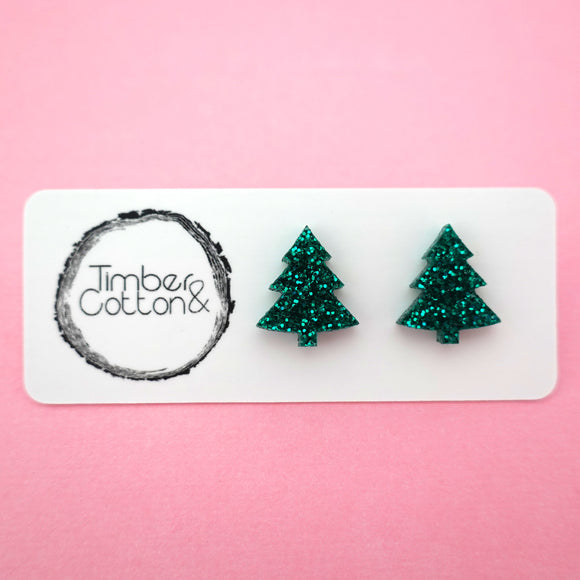 Christmas Tree Stud in Emerald Green Glitter- Timber & Cotton