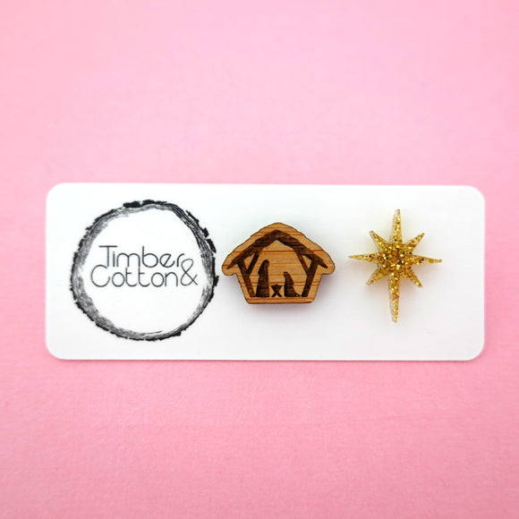Mismatch Christmas Nativity Scene Studs- Timber & Cotton