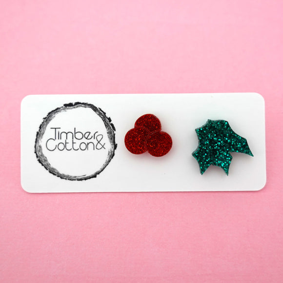 Mismatch Mistletoe Studs- Timber & Cotton