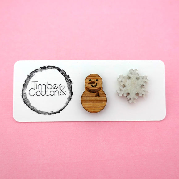Mismatch Snowman & Snow Flake Studs- Timber & Cotton