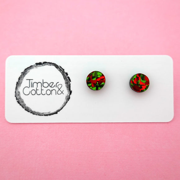 Circle Stud Earring (8mm) in Christmas Flake Glitter- Timber & Cotton