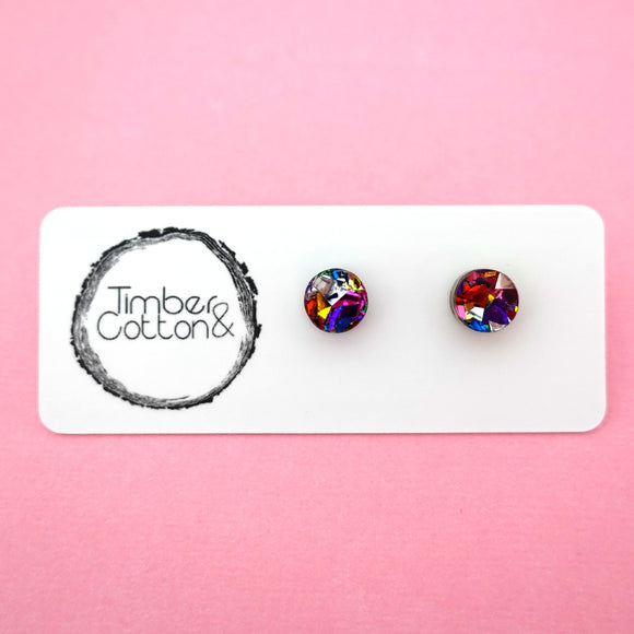 Circle Stud Earring (8mm) in Rainbow Flake Glitter- Timber & Cotton