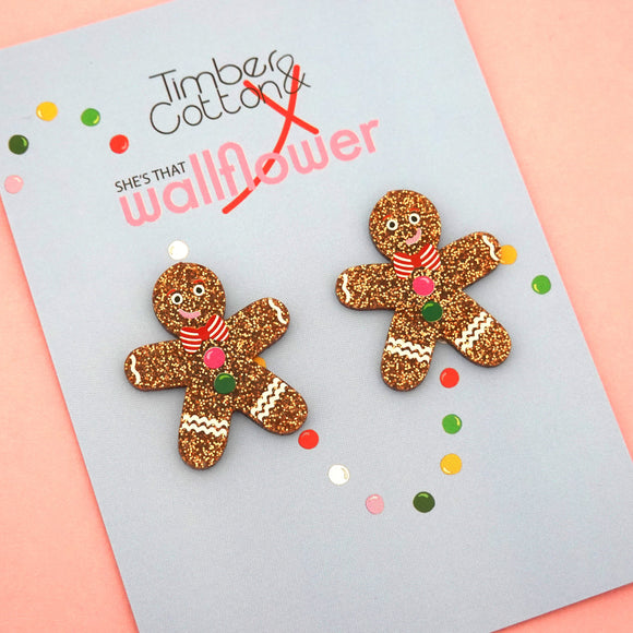 Gingerbread Man Statement Stud - Timber & Cotton X She's that Wallflower