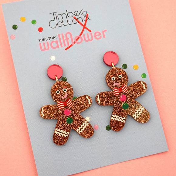 Gingerbread Man Dangle with Pink Stud Top - Timber & Cotton X She's that Wallflower