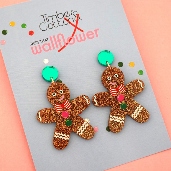 Gingerbread Man Dangle with Green Stud Top - Timber & Cotton X She's that Wallflower