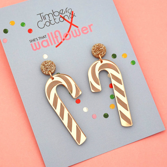 Rose Gold Candy Cane Dangle - Timber & Cotton X She's that Wallflower