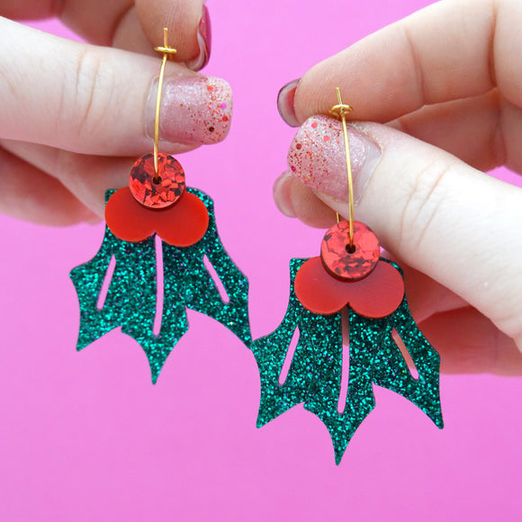 Christmas Mistletoe Holly Hoop Dangles- Timber & Cotton