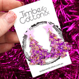 'Oh Christmas Tree' Dangles in Pastel Purple & Unicorn Flake Glitter- Timber & Cotton