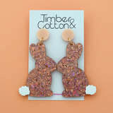 Easter Bunny 'Holographic Rose Gold Flake' Dangle Earrings