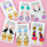 Easter Rainbow Lorikeet on Egg Dangle Earrings