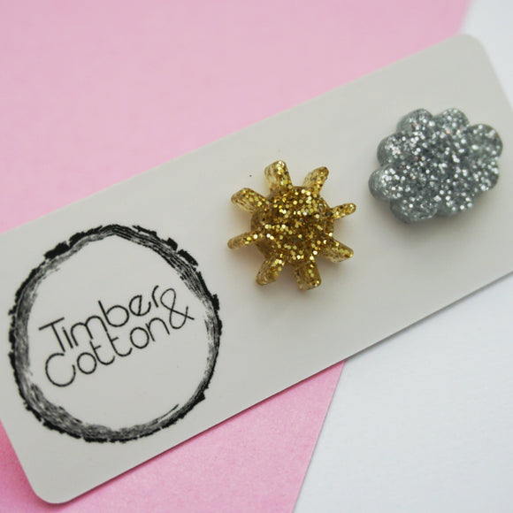 Sun & Cloud Studs- Weather Collection