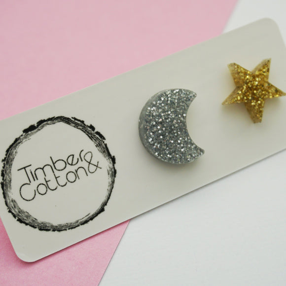 Moon & Star Studs- Weather Collection