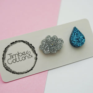 Cloud & Rain Drop Studs- Weather Collection