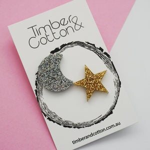 Moon & Star Statement Studs- Weather Collection