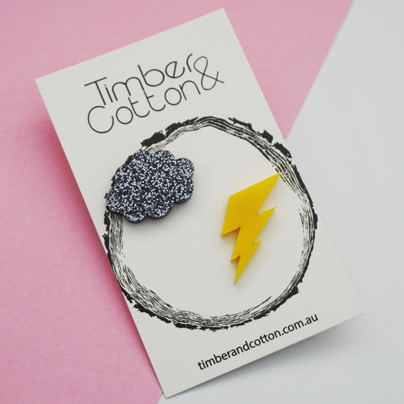 Cloud & Lightning Statement Studs- Weather Collection