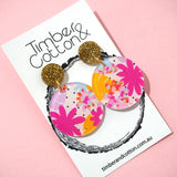 Polka-Dot Garden Circle Dangles- Timber & Cotton