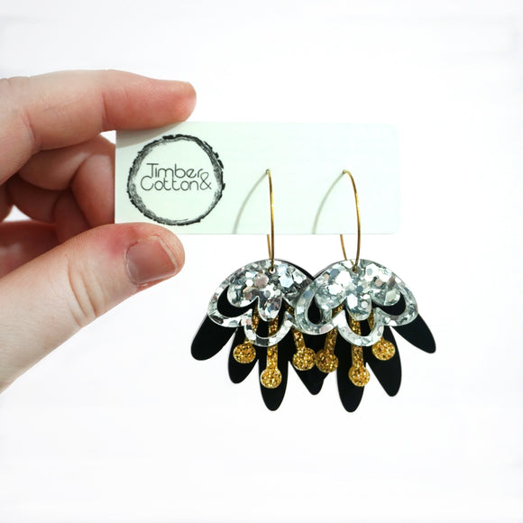 Blooming Delight Hoops- Silver, Gold & Black