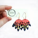 Blooming Delight Hoops- Coral, Gold & Holographic Navy