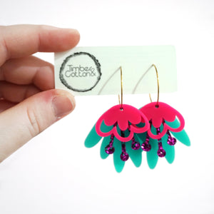 Blooming Delight Hoops- Hot Pink, Berry & Turquoise