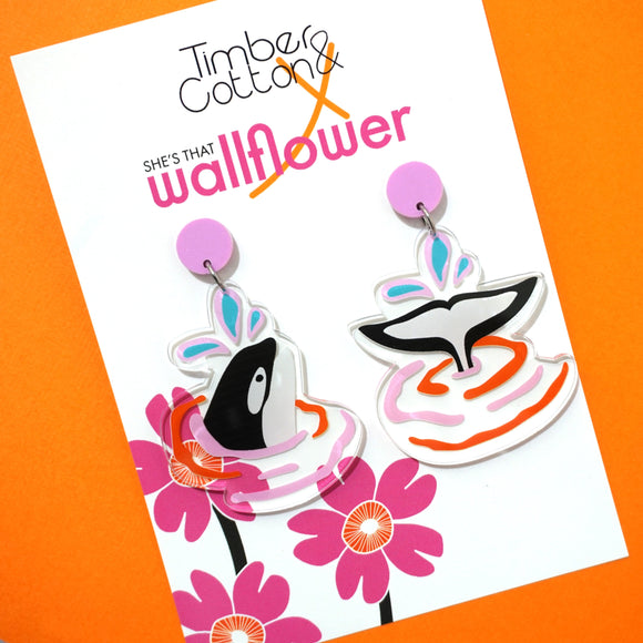 Splish Splash Orca Dangles- Timber & Cotton X She's That Wallflower