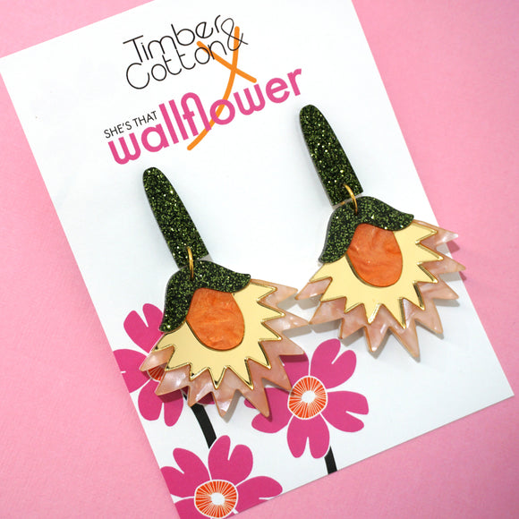 Floral Fanatic Dangles- Timber & Cotton X She's That Wallflower