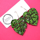 Monstera Leaf Hoop Dangles- Green Flake Glitter
