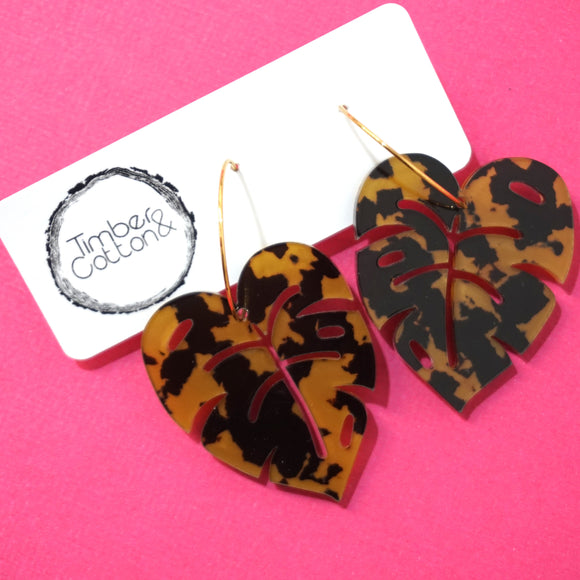 Monstera Leaf Hoop Dangles- Dark Leopard Print