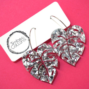 Monstera Leaf Hoop Dangles- Silver Flake Glitter