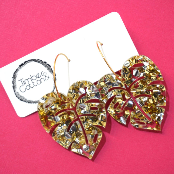Monstera Leaf Hoop Dangles- Gold & Silver Flake Glitter