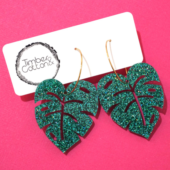Monstera Leaf Hoop Dangles- Holographic Turquoise Glitter
