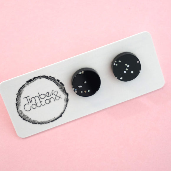 Circle Stud Earring (13mm)- Black Galaxy Glitter