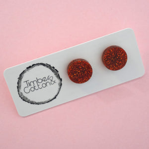 Circle Stud Earring (13mm)- Burnt Orange Glitter