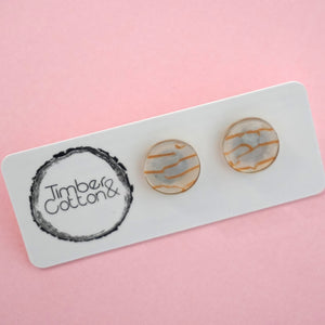 Circle Stud Earring (13mm)- Tunnel White