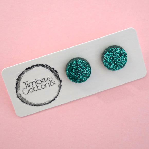 Circle Stud Earring (13mm)- Emerald Green Glitter