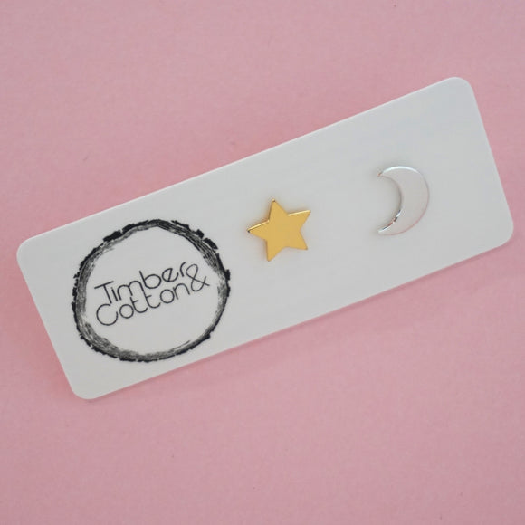 Star & Moon Mismatch Stud Earrings- Silver & Gold Metallic
