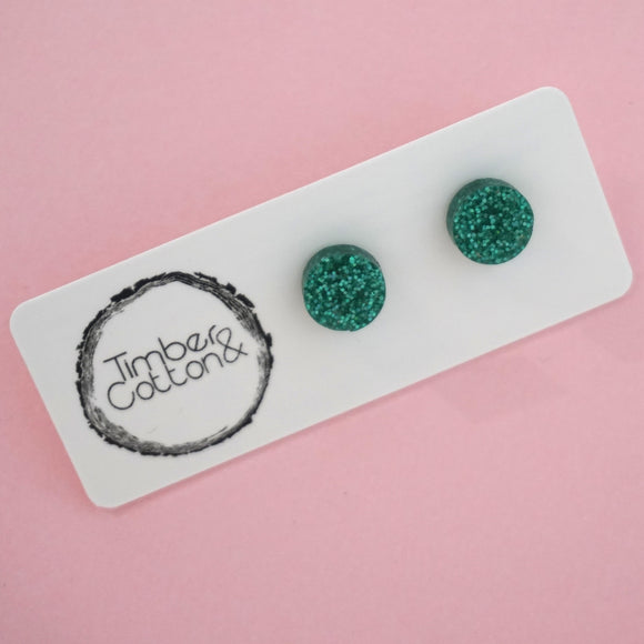 Circle Stud Earring (10mm)- Holographic Turquoise Glitter