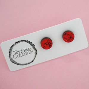 Circle Stud Earring (10mm)- Red Flake Glitter