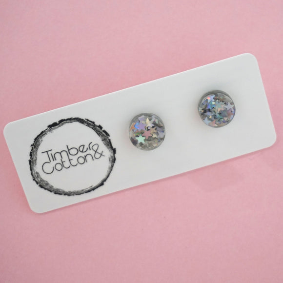 Circle Stud Earring (10mm)- Holographic Star Glitter