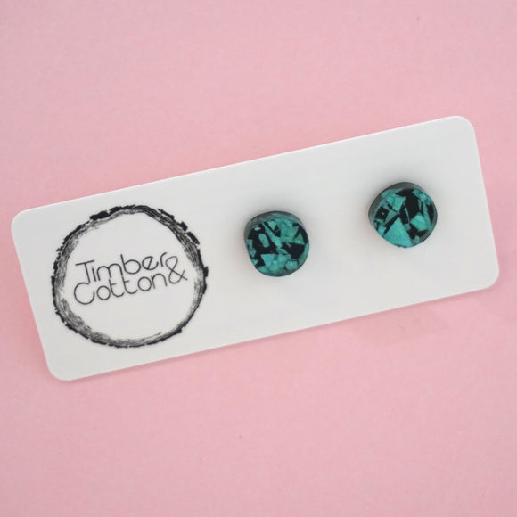 Organic Circle Stud Earrings- Turquoise Shard