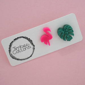 Flamingo & Monstera Mismatch Stud Earrings- Hot Pink & Holographic Turquoise Glitter