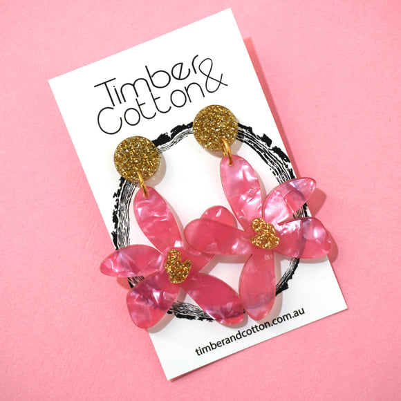 Floral Stud Top Dangles 'Pink with Gold Glitter'- Timber & Cotton