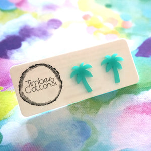 Palm Tree Studs- Turquoise