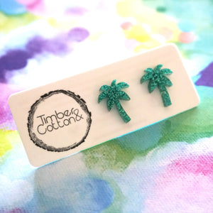 Palm Tree Studs- Holographic Turquoise Glitter