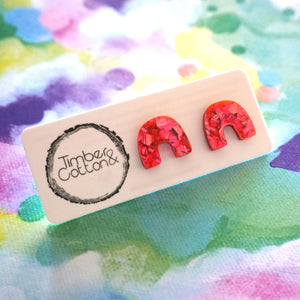 Arch Studs- Hot Pink Flake