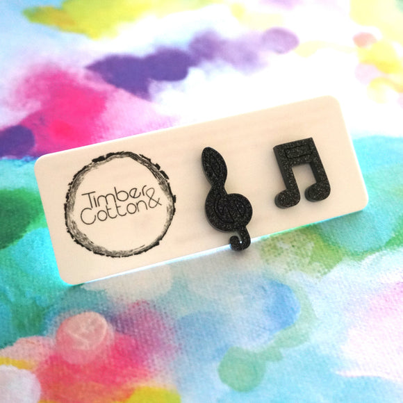 Music Note & Treble- Black Glitter