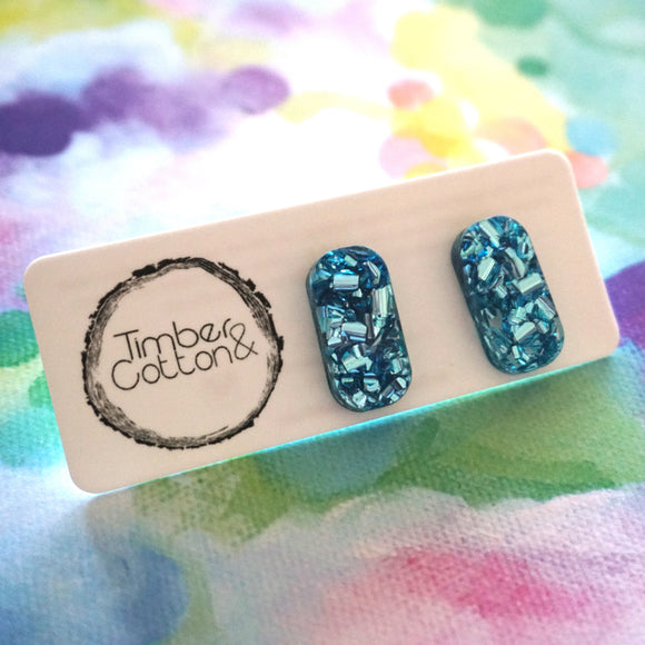 Rectangle Stud- Blue Flake